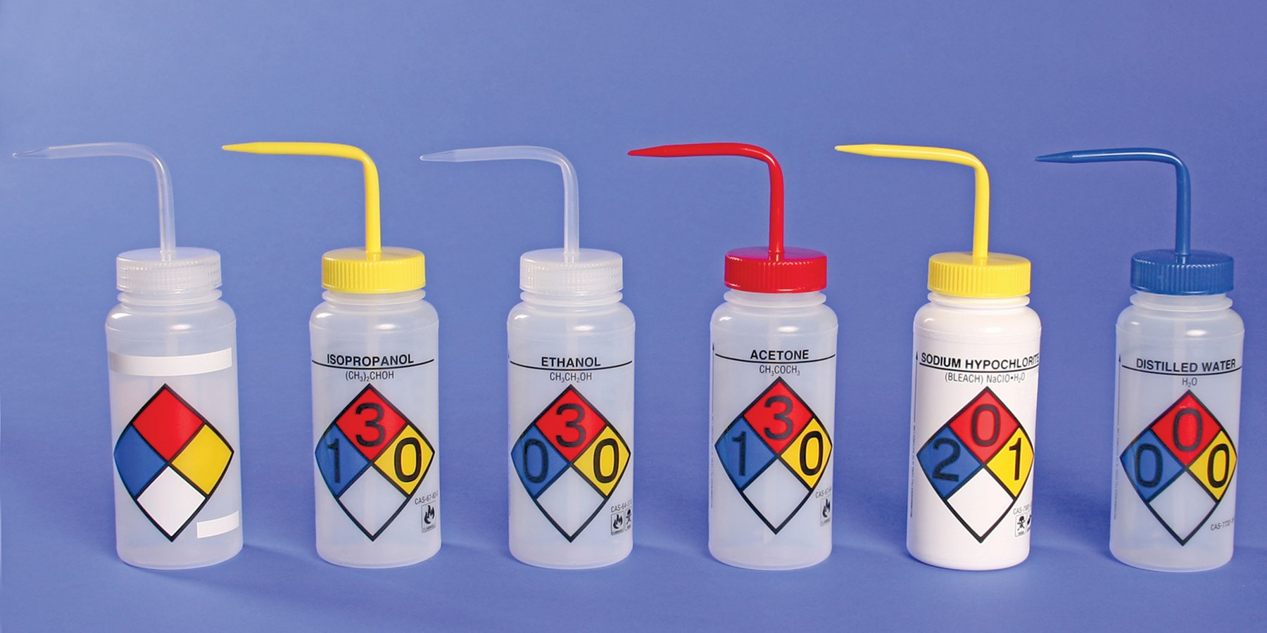 4-Color Wash bottles 1L (Ethanol) - Right-To-Know, wide-mouth (Pack of 4)